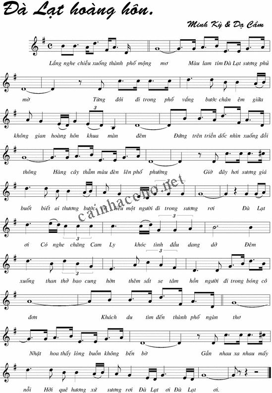 Lời bài hát Đà Lạt hoàng hôn
