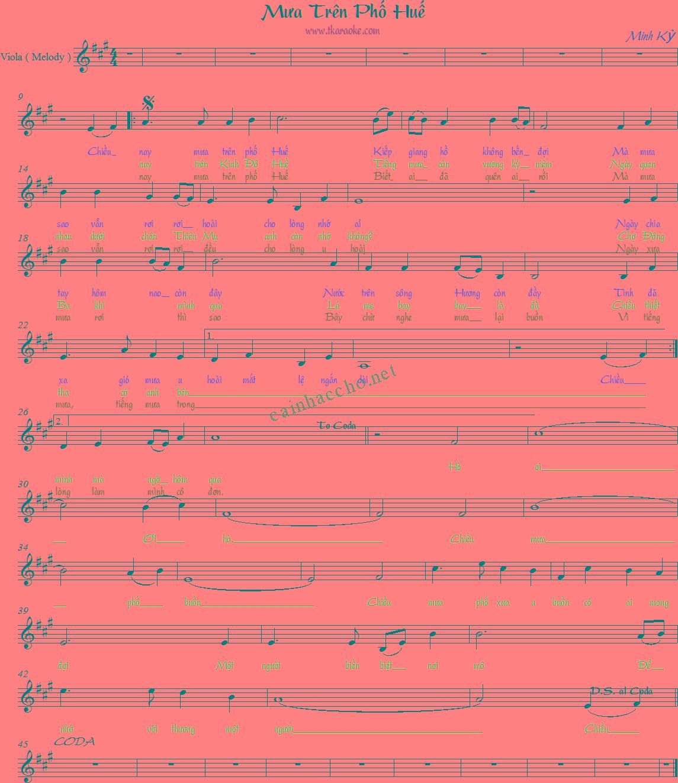 Lời bài hát Mưa trên phố Huế